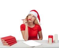 Fille de Noël avec le stylo, concept isolated04 de Noël Photos stock