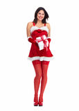 Fille de Noël d'aide de Santa avec un présent. Image stock