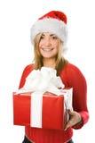 Fille de Noël dans le chapeau rouge Photo libre de droits