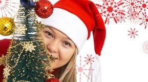 Fille de Noël heureux Photos stock
