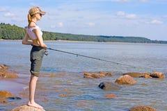 fille de pêche photo stock