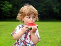 Fille de pastèque Photos stock