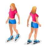 Fille de patinage de rouleau Portrait intégral qu'une fille de sourire sur le patinage de rouleaux a isolé sur le fond blanc Vect Photos stock