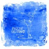 Fille de patineur artistique sur un fond d'aquarelle Photographie stock