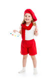 Fille de petit enfant dans le costume d'artiste d'isolement Photo stock