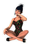 fille de pin-up du rendu 3D sur le blanc Photos stock