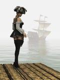 Fille de pirate d'imagination sur le dock Photo libre de droits