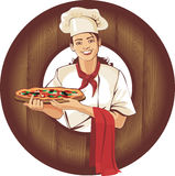Fille de pizza Image stock