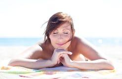 Fille de plage d'été Images libres de droits
