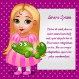 Fille de poupée dans la robe rose avec la carte pour votre texte Photographie stock libre de droits