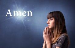 Fille de prière Image stock