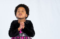 Fille de prière d'Afro-américain Photos stock