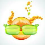 Fille de Redhed utilisant les lunettes de soleil vertes illustration libre de droits