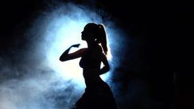 Fille de représentation de démonstration de karaté noir Silhouette Contre-jour banque de vidéos