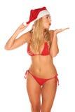 Fille de Santa Claus dans un maillot de bain Images stock