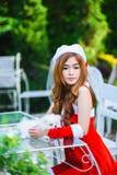 Fille de Santa d'Asiatique avec le chiot Image libre de droits