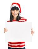 Fille de Santa d'isolement sur le fond blanc. Image stock