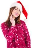 Fille de Santa dans la robe de nuit Photographie stock