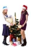 Fille de Santa de Noël deux avec le cadeau Photo libre de droits