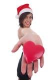 Fille de Santa prenant un coeur Photos libres de droits