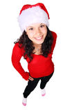 Fille de Santa recherchant d'isolement sur le fond blanc Photo libre de droits