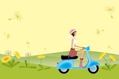 Fille de scooter sur des graines de pissenlit Photographie stock libre de droits