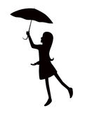 Fille de silhouette avec le parapluie Couches Editable illustration stock