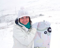 Fille de Snowboarder Photo libre de droits