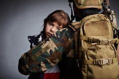 Fille de soldat américain Images libres de droits