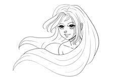 Fille de sourire aux cheveux longs de croquis de vecteur Images stock