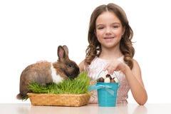 Fille de sourire avec des oeufs de lapin et de chocolat Photographie stock