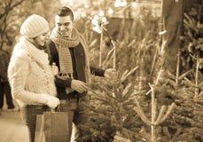 Fille de sourire avec l'ami au marché de sapins Photo stock