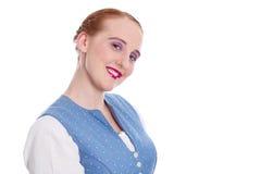 Fille de sourire de charme avec des taches de rousseur d'isolement sur le blanc Image stock