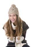 Fille de sourire en type de l'hiver Photographie stock