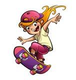 Fille de sourire heureuse d'enfant de bande dessinée avec la planche à roulettes dans l'humeur de sport Images stock