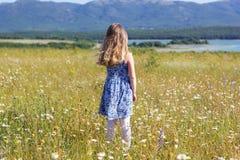 Fille de sourire mignonne d'enfant dans le domaine vert photographie stock libre de droits