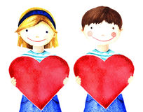 Fille de sourire peu assez belle tenant le grand coeur rouge dans des ses mains Illustration peinte à la main d'aquarelle sur le  Photo stock