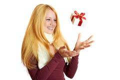 Fille de sourire sur Noël Photos stock
