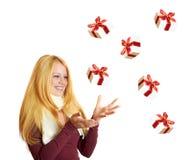 Fille de sourire sur Noël Photo stock