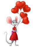 Fille de souris avec ballons dans une robe rouge, jour du ` s de Valentine Illustration Libre de Droits