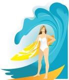 Fille de surfer dans le bikini avec la planche de surf illustration stock