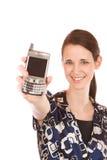 Fille de téléphone portable Images stock
