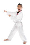 Fille de Tae Kwon Do Asian sur le fond blanc Image stock