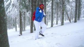 Fille de touristes seule marchant sur une forêt conifére couverte de neige d'hiver dans les montagnes Frosty Weather clips vidéos