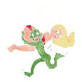 fille de transport de monstre de marais de bande dessinée dans le bikini avec le bubbl de pensée Image stock