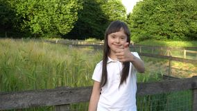 Fille de trisomie 21 renonçant à des pouces et souriant en parc banque de vidéos
