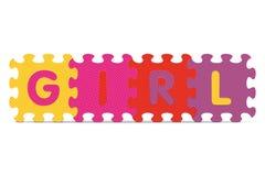 FILLE de vecteur écrite avec le puzzle d'alphabet Images stock