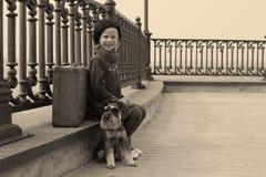Fille de vintage dans la sépia Photos stock