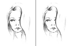 Fille de visage de croquis Illustration de vecteur Photo libre de droits