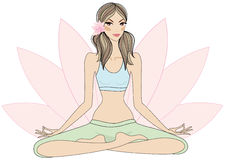 Fille de yoga dans la pose de lotus illustration libre de droits